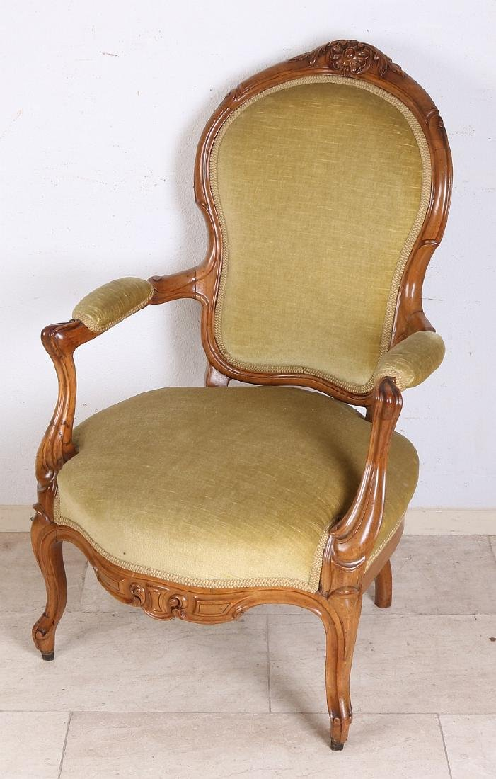 Antique German walnut Louis Philippe armchair with good