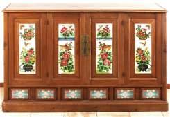 Sideboard. Side panels with Jugendstil tiles. Solid elm