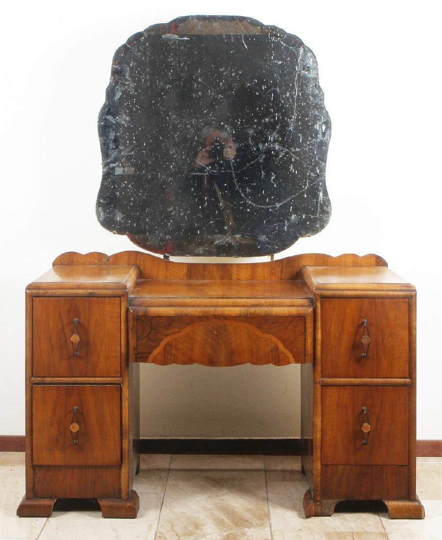 English Art Deco dressing table. Walnut with inlay