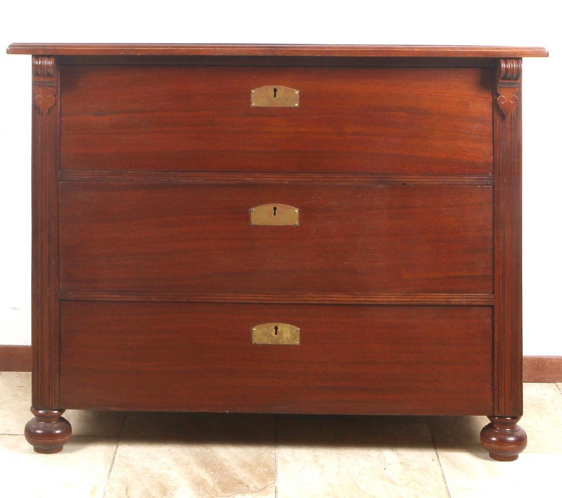 Three drawers chest of drawers. Circa 1900. Walnut