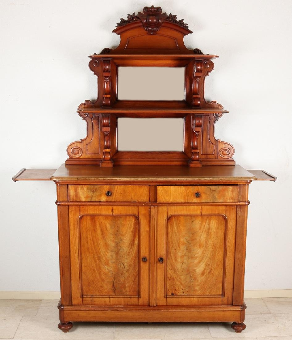 Mahogany design buffet cabinet. Back with polished