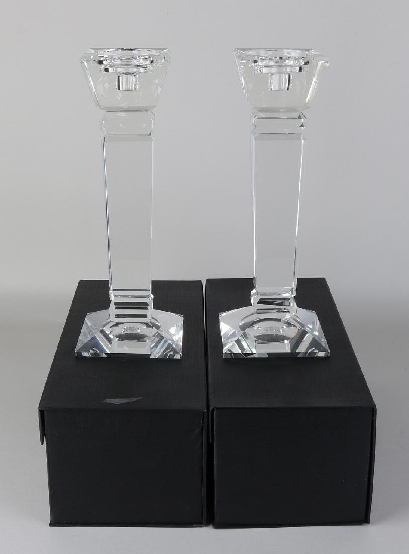 Two large modern crystal glass candle holders in