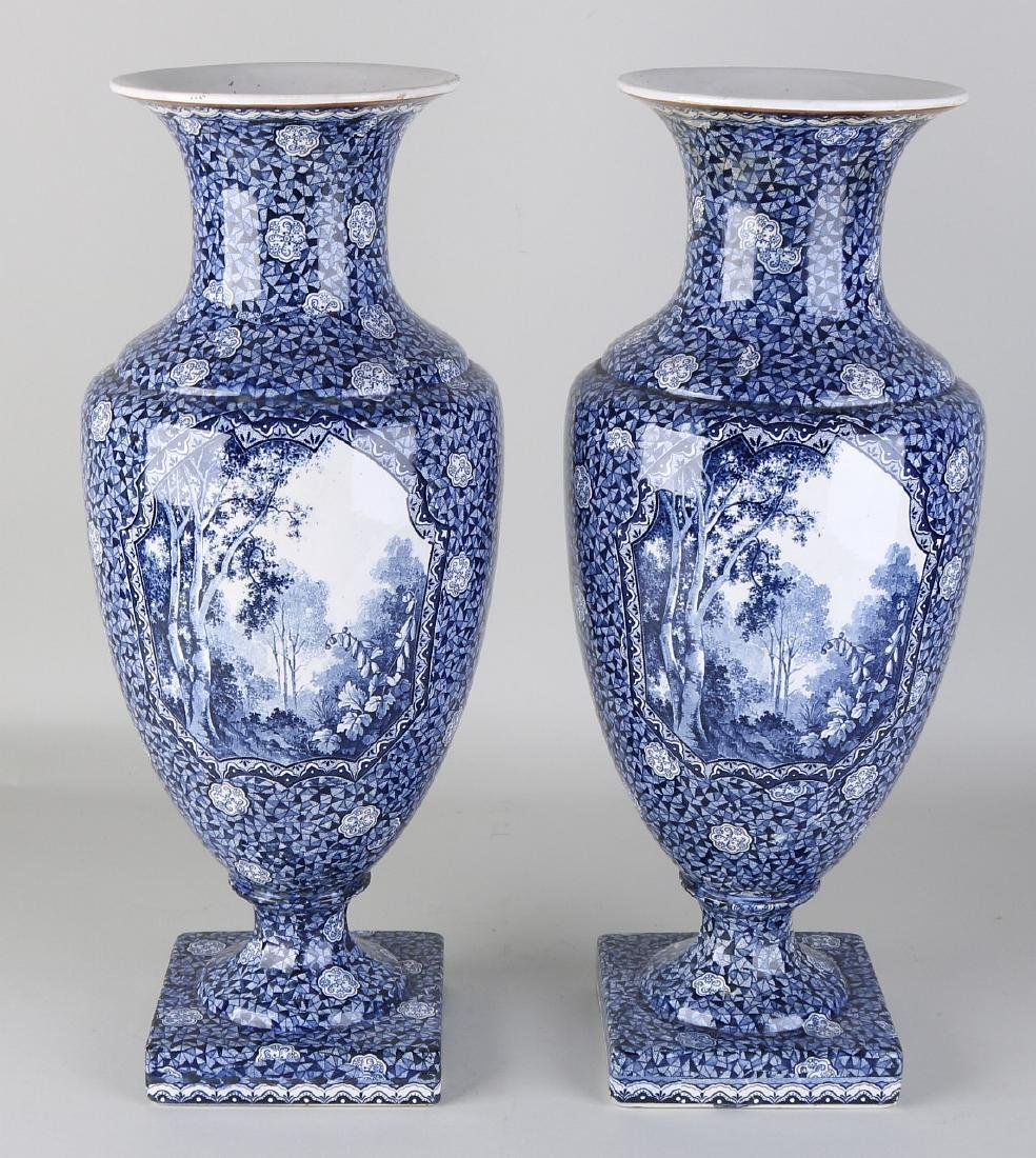 Two large antique Villeroy and Boch, Bonn vases with - 2