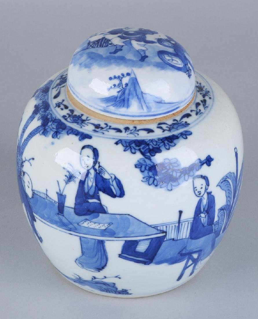 Ancient Chinese porcelain ginger jar with lid. Around