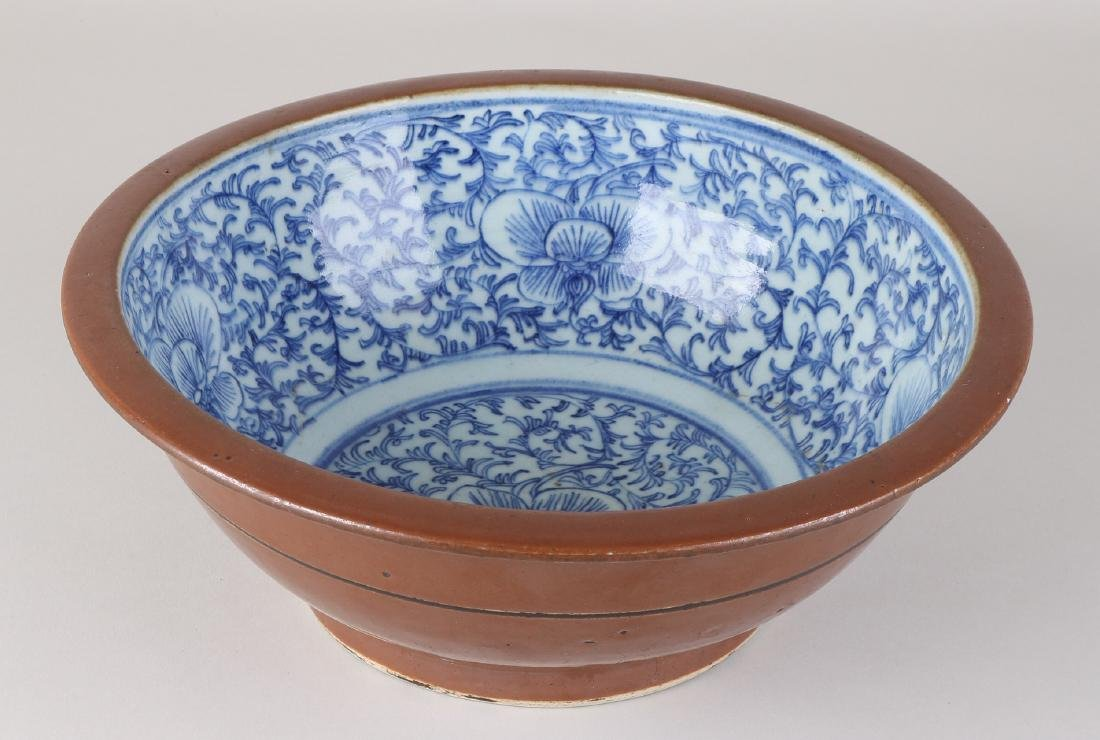 Large 19th century Chinese porcelain capuchin bowl with