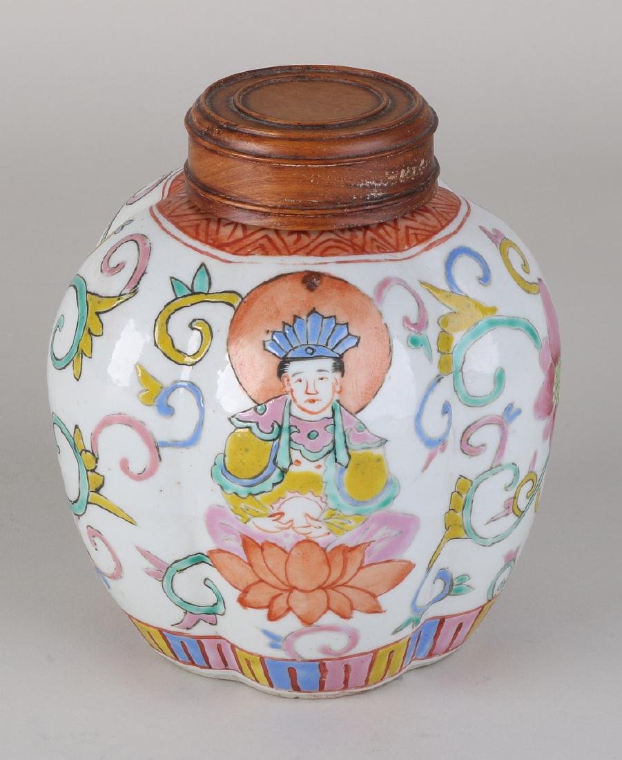 Antique Chinese porcelain ginger jar with Buddhist