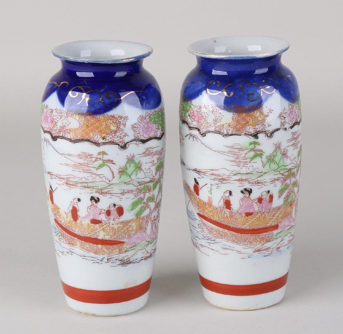 Two antique Japanese Imari porcelain vases with
