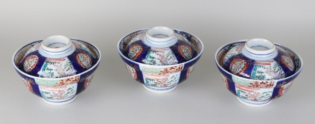 Three antique Japanese Imari porcelain rice bowls with