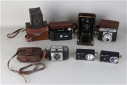 Lot of old cameras. 20th century. Among other things: