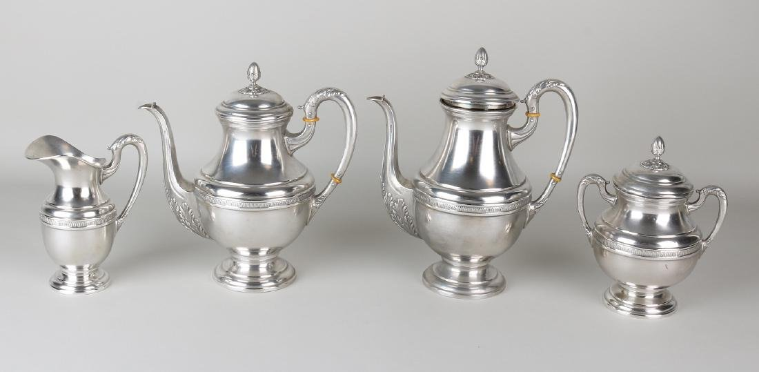Silver coffee service set, 915/000, Spanish, with a