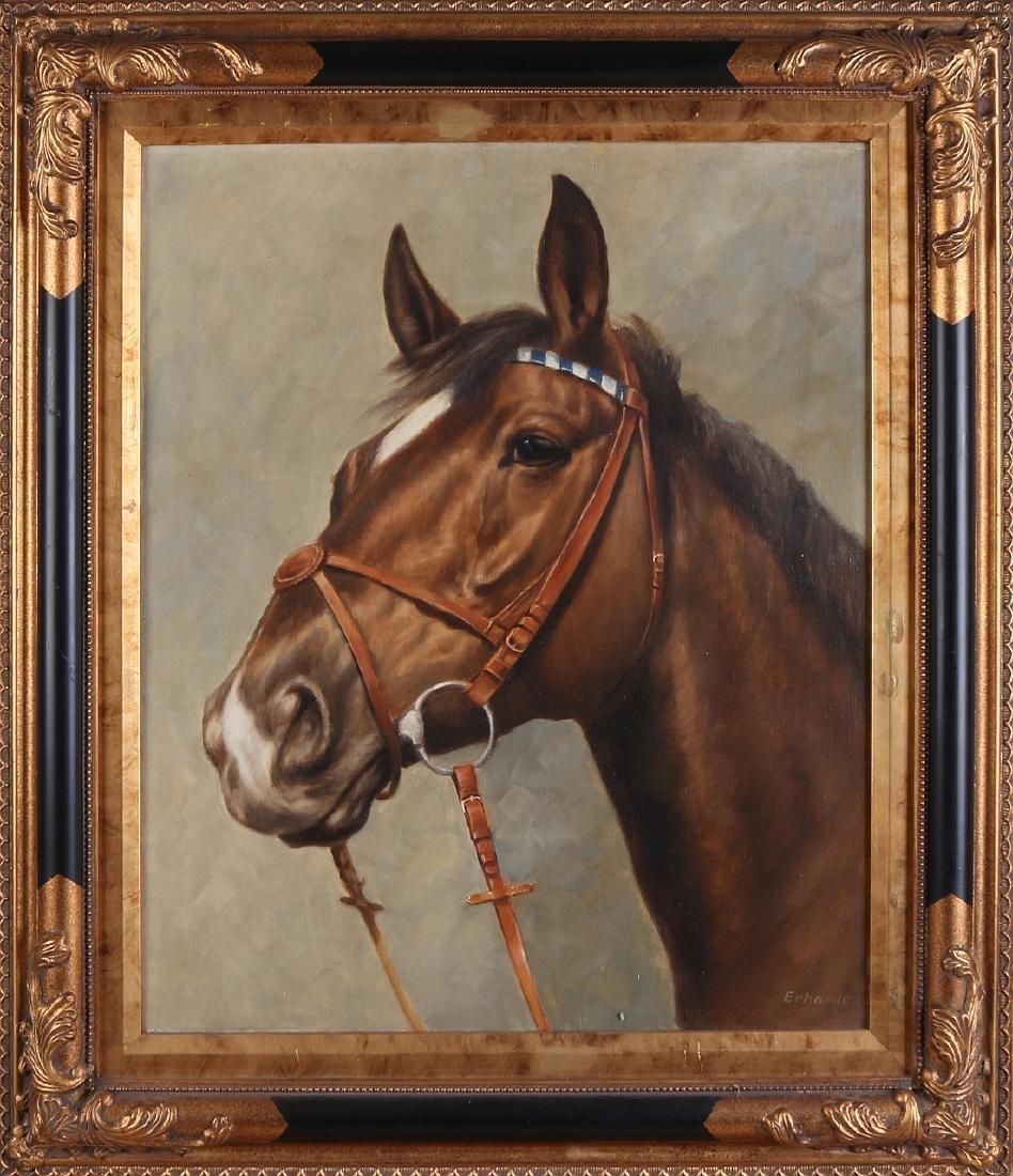 Erhardt. Circa 1980. German School. Horse head. Oil on