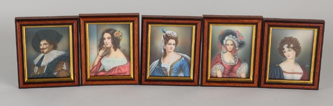 Five old painted miniatures. 20th century. Four times