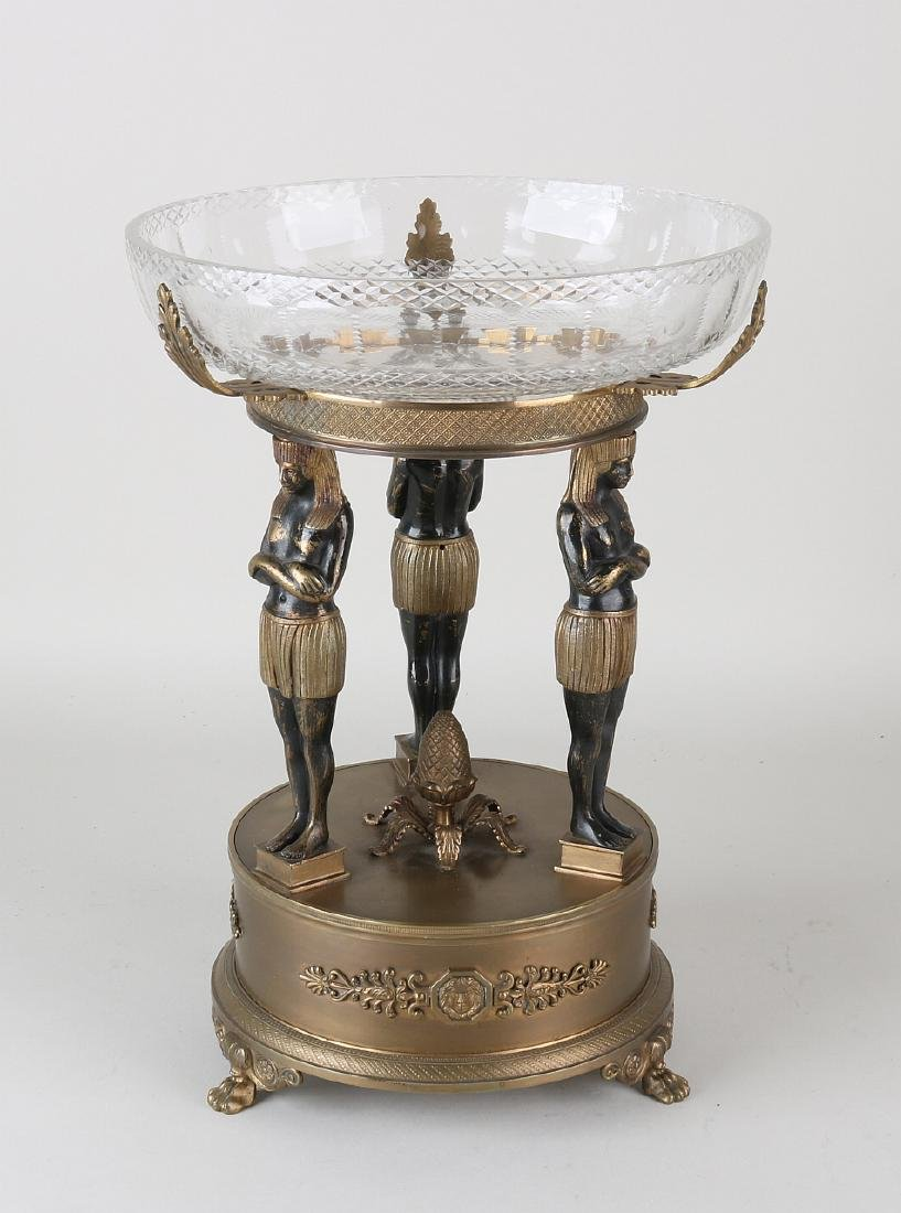 Napoleon III bronze table piece with Egyptian figures,