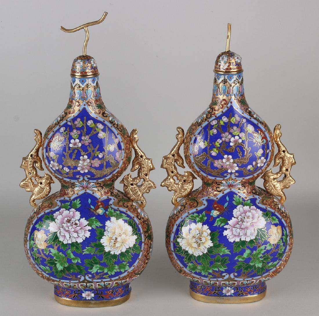 Two Japanese gourd-shaped cloisonne vases. Second half