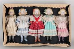 Set of five original German antique bisquit porcelain