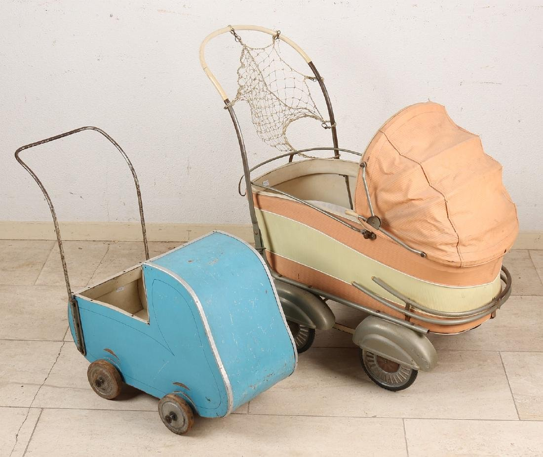 Two pre-war doll prams. Circa 1930 - 1940. Dimensions: