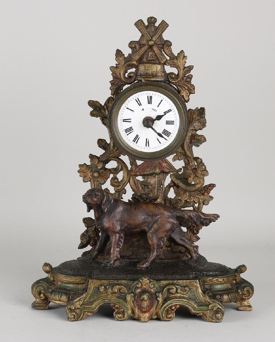 Antique French composition metal desk clock with
