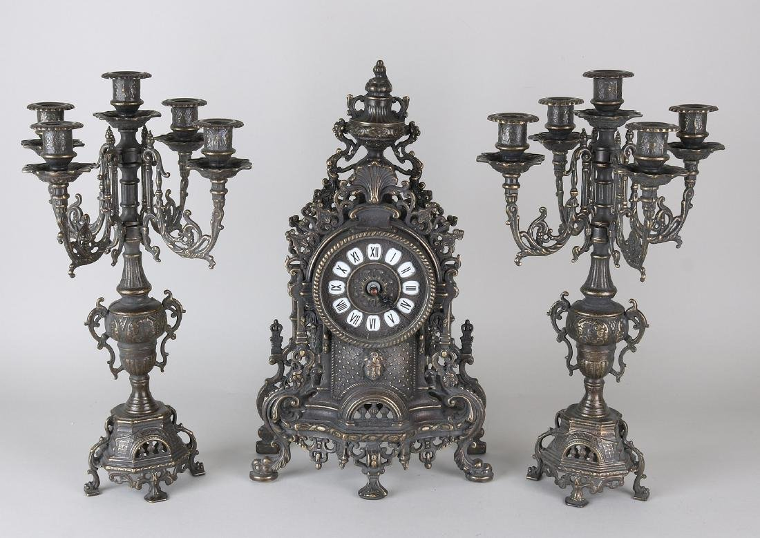 Italian three-part bronze clock set with battery