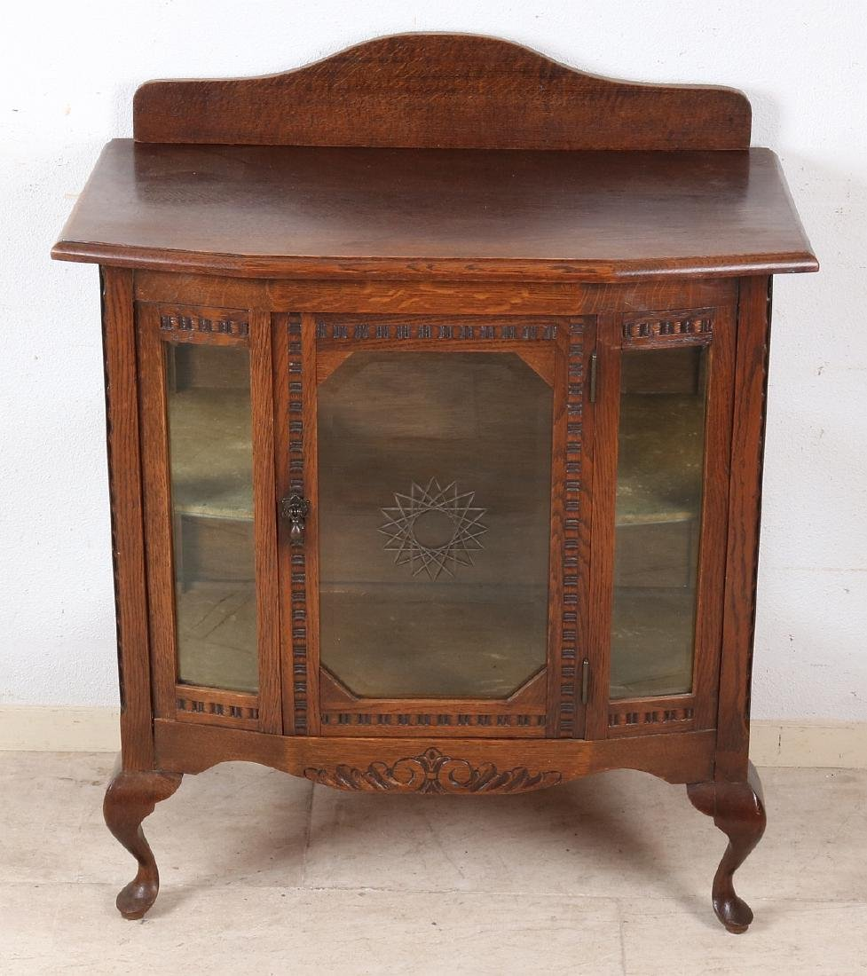 Dutch antique oak tea cupboard with faceted glass and
