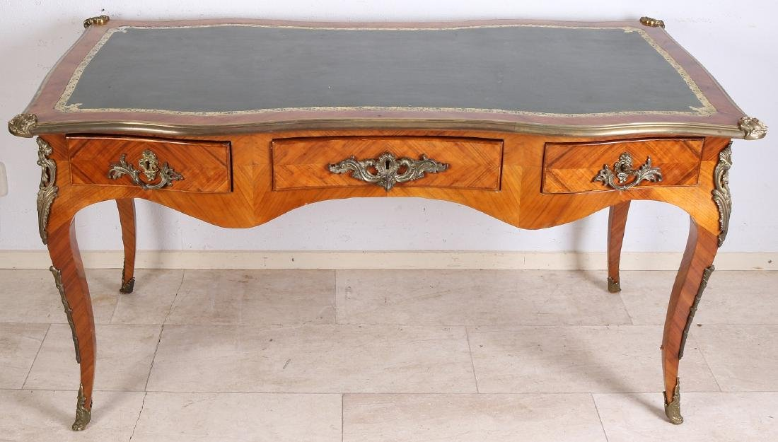 French rosewood desk with bronze fittings and green