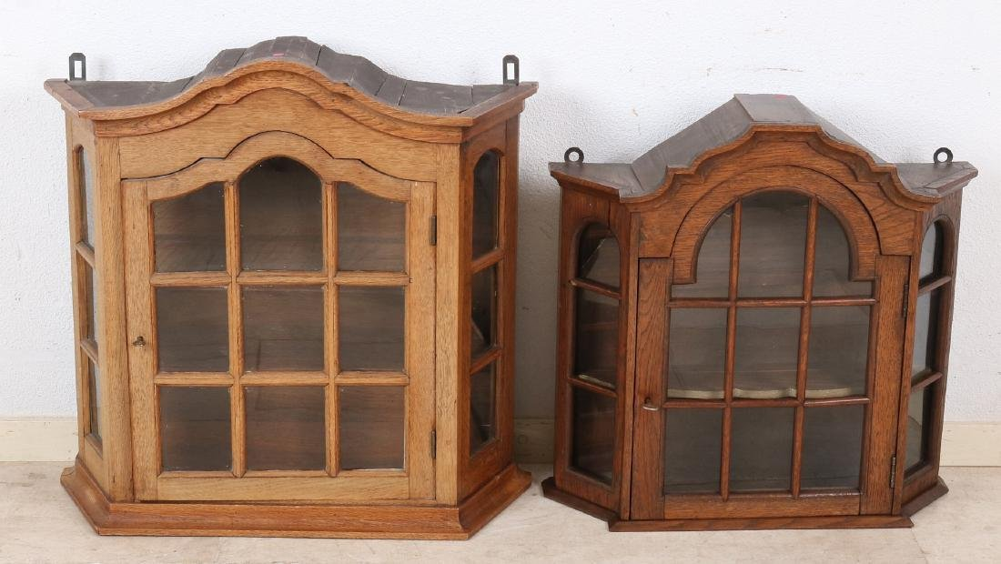 Two small antique Dutch oak oak Baroque style display