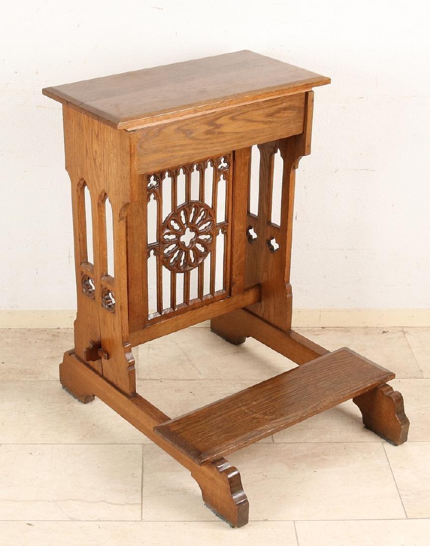 Antique Neo Gothic oak prayer chair. Historism. Around