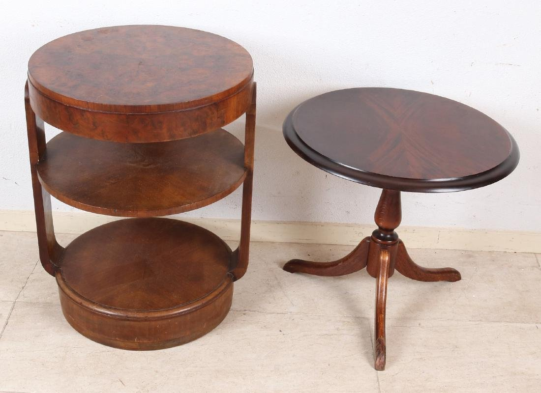 Two old / antique side tables. One time carrot nuts,