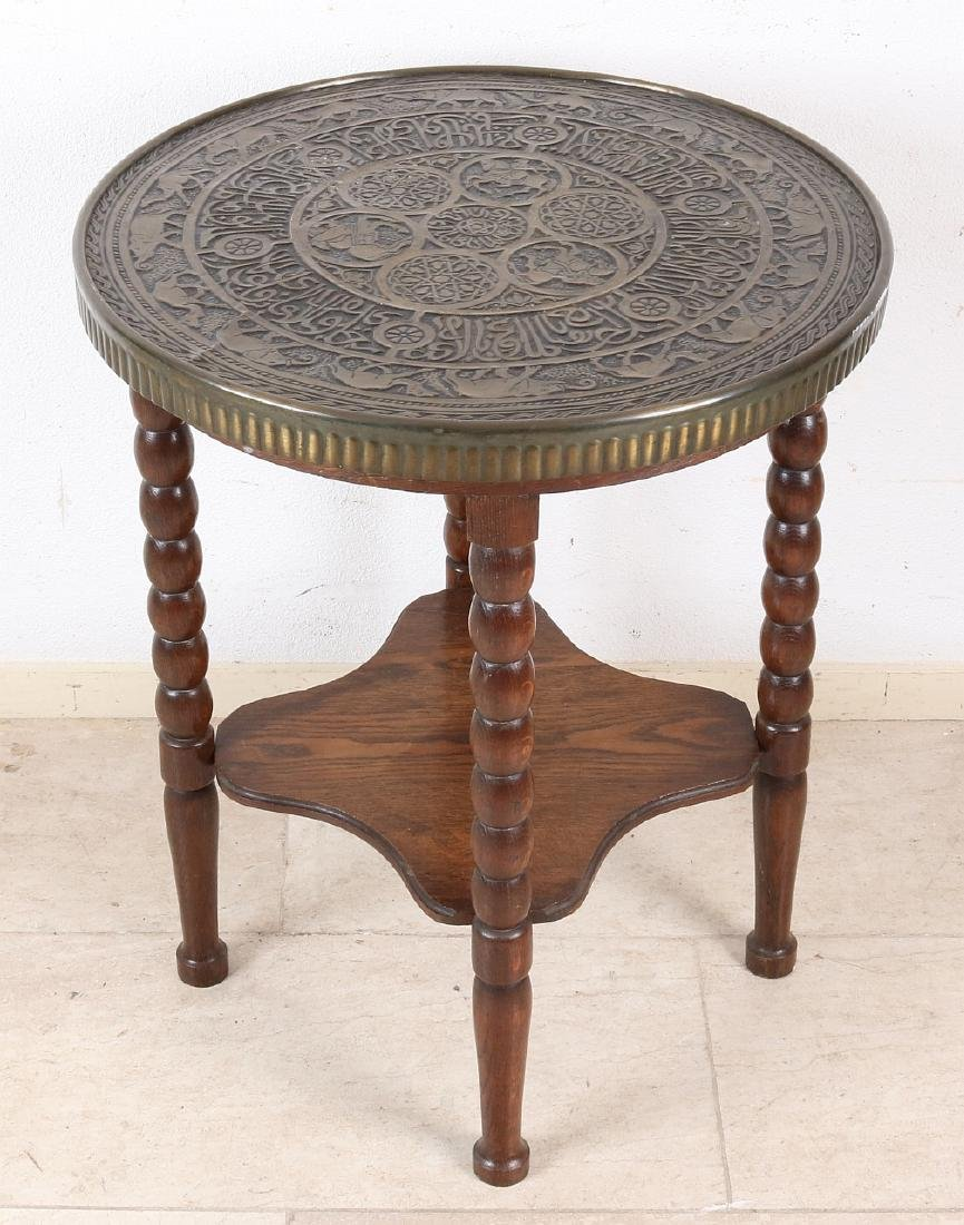Old oak oriental smoking table with copper-stained