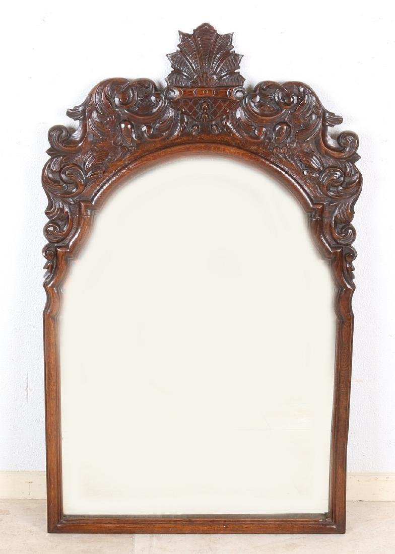 Antique oak carved English mirror with polished mirror
