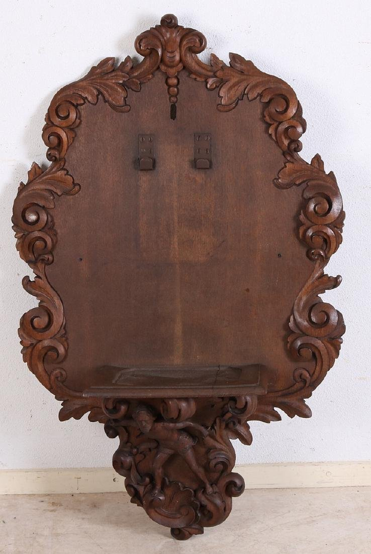 Large 19th century oak carved wall console with figure