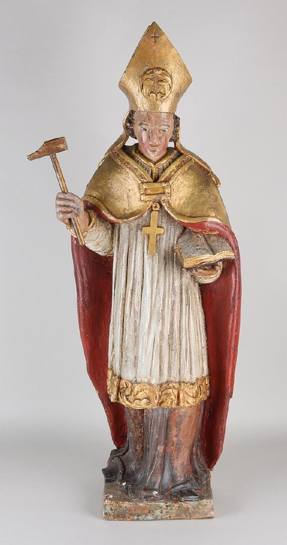 Large 18th century wood carved saint. St. Nicholas.