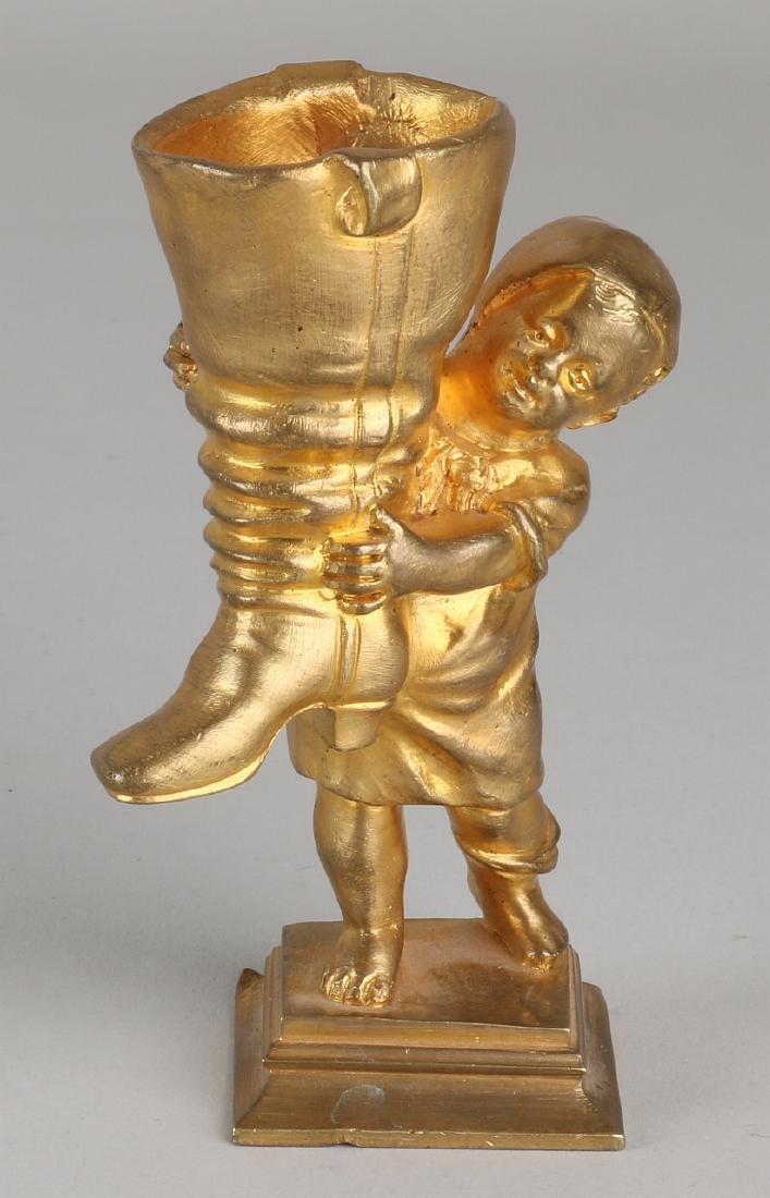 Antique gilt bronze figure. Circa 1900. Little boy with
