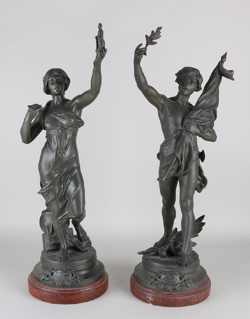 Two large antique French composition metal figures.