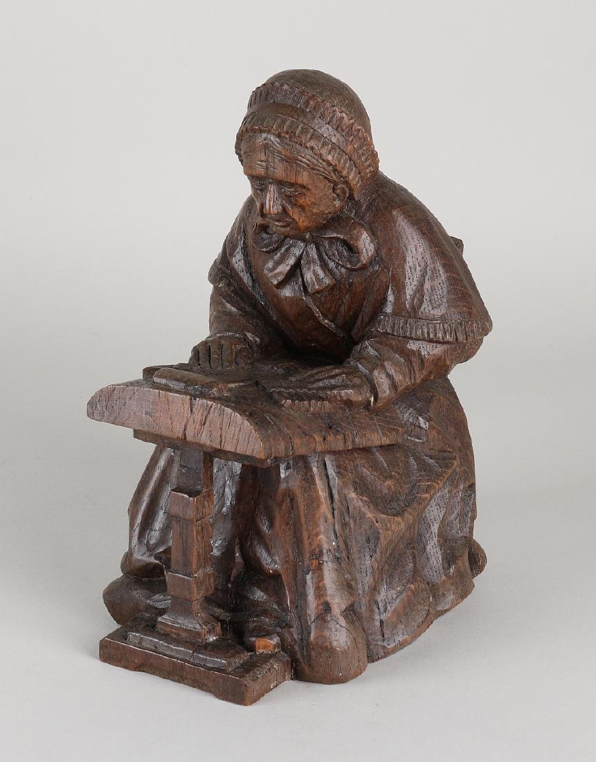 Old / antique oak carved figure. Woman with loom. 20th