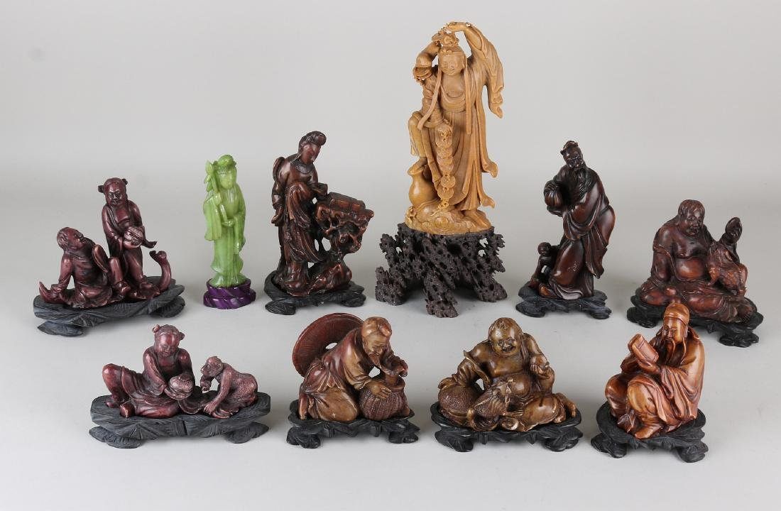 Ten ancient Chinese soapstone carved figures with