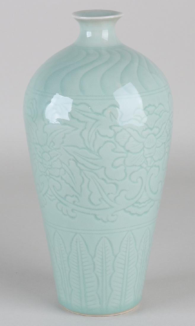 Ancient Chinese porcelain celadon vase. With bottom