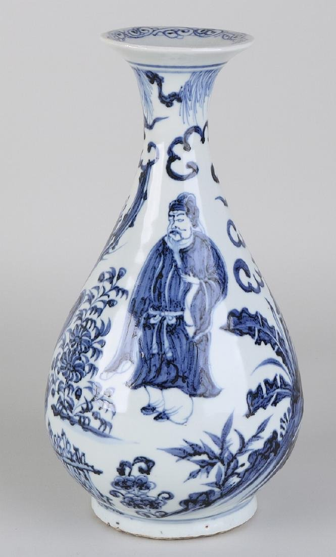 Old Chinese blue and white porcelain vase with