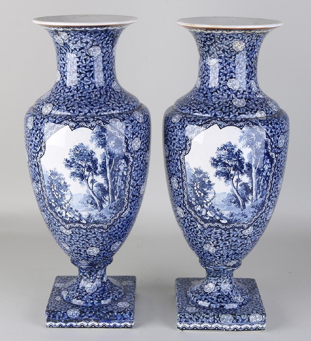 Two large antique Villeroy and Boch, Bonn vases with
