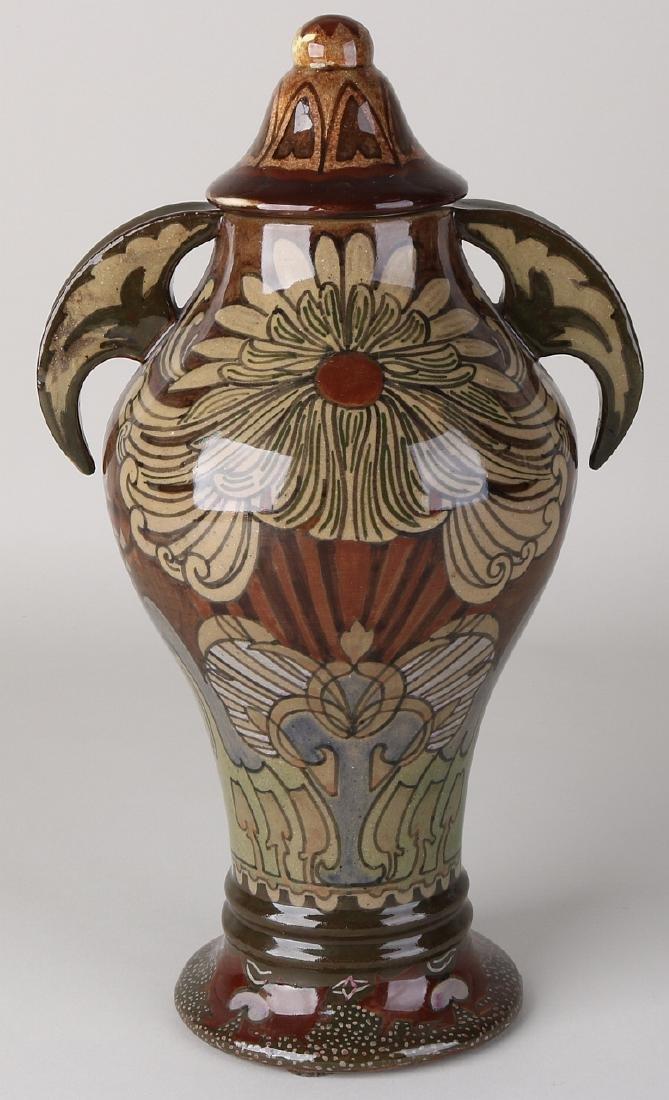 Antique Dutch Jugendstil covered vase 'De Distel'