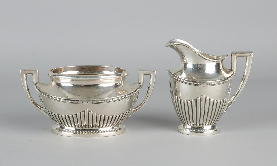 Silver cream set, 830/000, with milk jug and a sugar