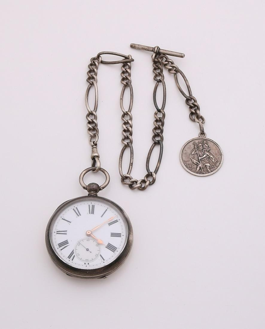 Silver pocket watch, 935/000, Swiss, round model with