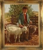 Josef Strahn. 1904 - 1997. German School. Farm boy with