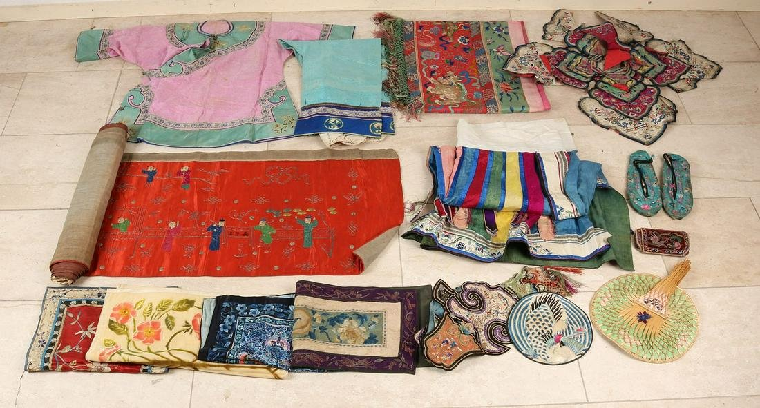 Box full of antique Chinese silk robes, clothing,