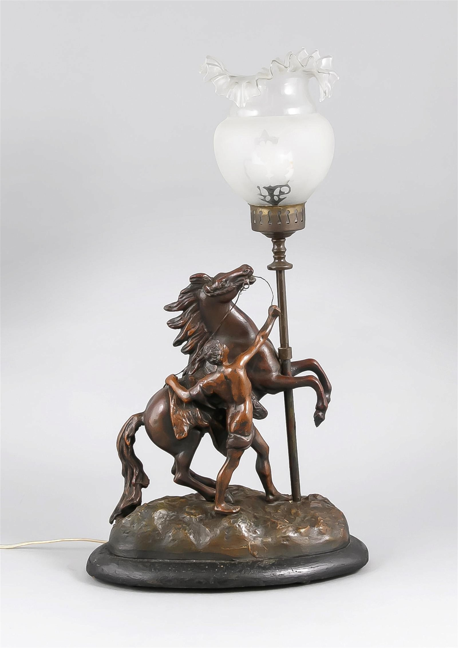 Antique French composition metal table lamp with horse