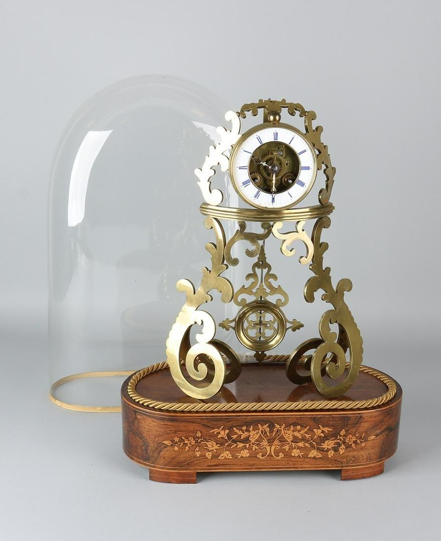 19th century French brass skeleton clock with original