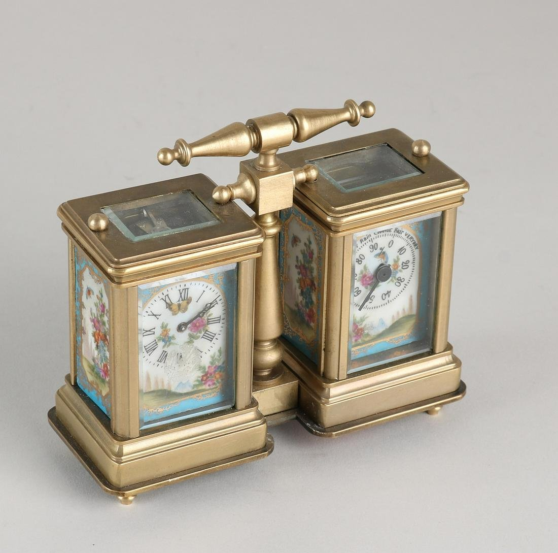 Double brass travel alarm clock with Sevres-style