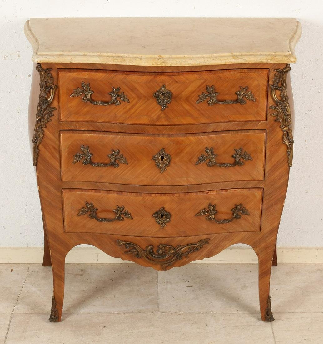 French rosewood Louis Quinze style commode with bronze