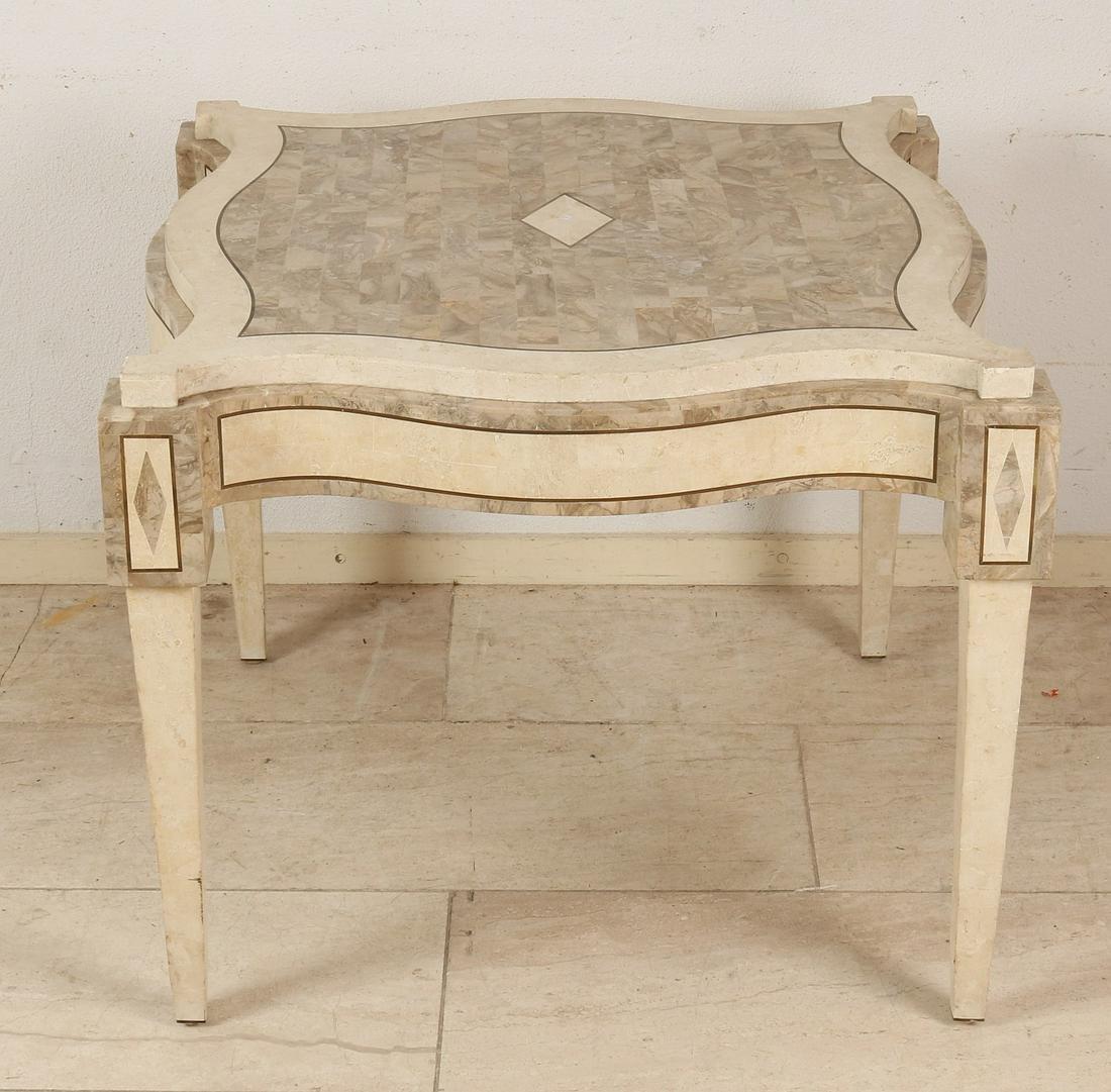 Italian marble glued coffee table. Stylish furniture,