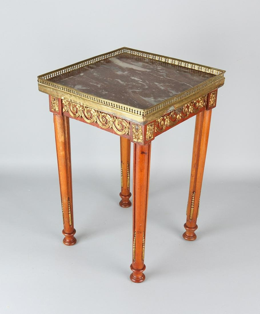 19th century French walnut side table with marble top
