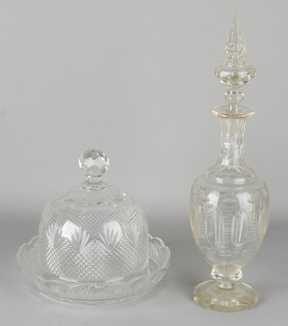 Two times antique crystal. One large cheese bell +